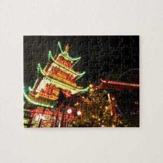Chinese pagoda at night jigsaw puzzle