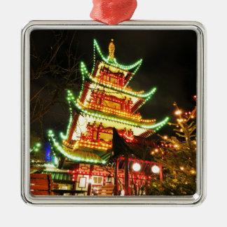 Chinese pagoda at night metal ornament