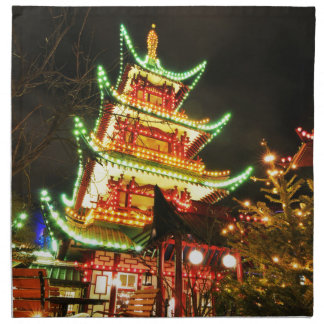 Chinese pagoda at night napkin