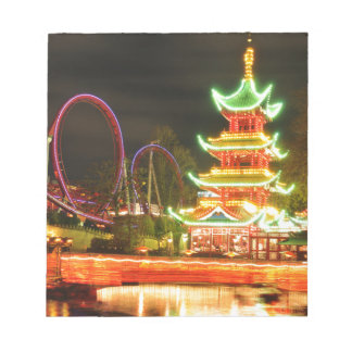 Chinese pagoda at night notepad