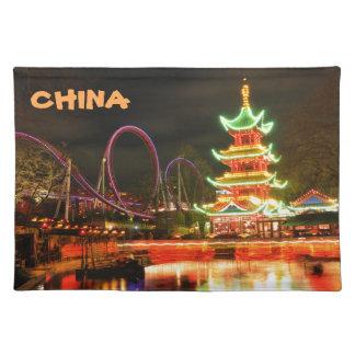 Chinese pagoda at night placemat