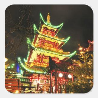 Chinese pagoda at night square sticker