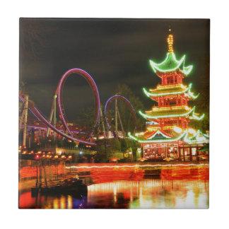 Chinese pagoda at night tile