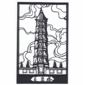Chinese Pagoda Standing Photo Sculpture