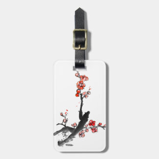 Chinese painting of flowers, plum blossom luggage tag