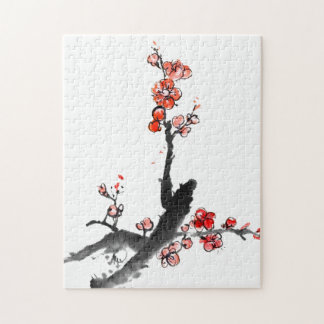 Chinese painting of flowers, plum blossom puzzle