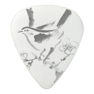 Chinese painting , plum blossom and bird acetal guitar pick