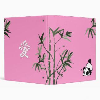 Chinese Panda Pink 3 Ring Binders