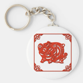 Chinese paper cutting art : pig (V1) Basic Round Button Keychain