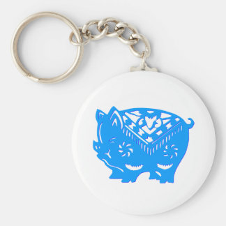 Chinese paper cutting art : PIG (V4) Basic Round Button Keychain
