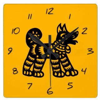 Chinese Papercut Dog Year 2018 Yellow Clock