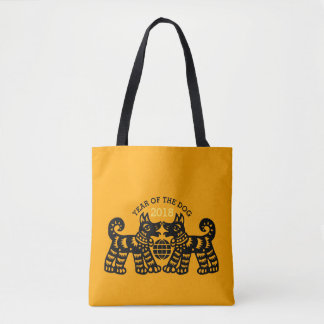 Chinese Papercut Earth Dog Year 2018 Tote Bag