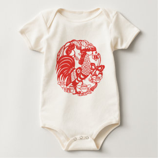 Chinese Papercut Rooster Year 2017 Baby Baby Bodysuit