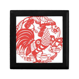 Chinese Papercut Rooster Year 2017 box 3 Jewelry Box