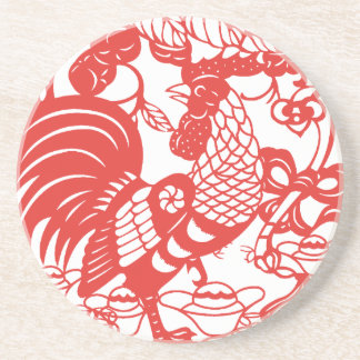 Chinese Papercut Rooster Year 2017 cosater 2 Beverage Coaster