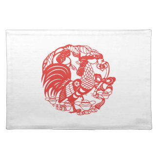 Chinese Papercut Rooster Year 2017 Placemat