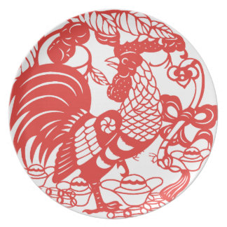 Chinese Papercut Rooster Year 2017 Plate