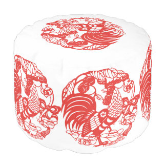 Chinese Papercut Rooster Year 2017 Round Pouf