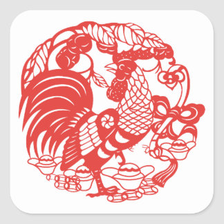 Chinese Papercut Rooster Year 2017 S sticker