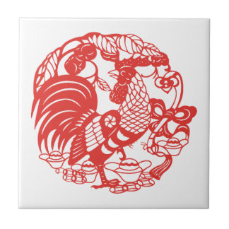 Chinese Papercut Rooster Year 2017 tile