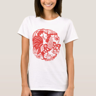 Chinese Papercut Rooster Year 2017 Woman W Tee