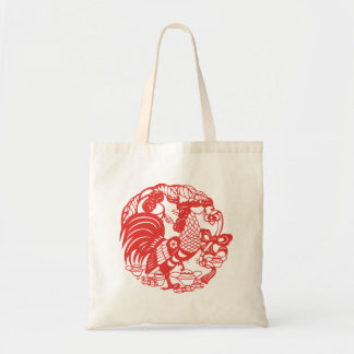 Chinese Papercut Rooster Year Tote bag
