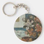 Chinese Peonies and Mandolin by Paul Gauguin Keychain