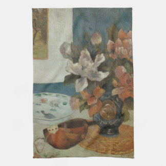 Chinese Peonies and Mandolin by Paul Gauguin Kitchen Towel