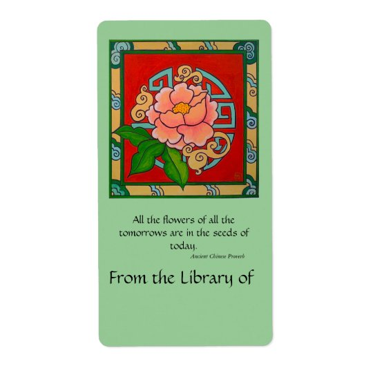 Chinese Peony Book Plate Shipping Label
