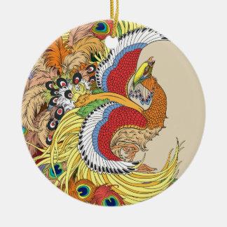 Chinese phoenix ceramic ornament