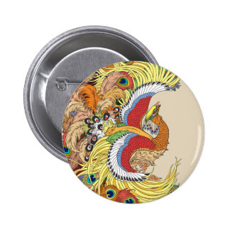 chinese phoenix feng huang 2 inch round button