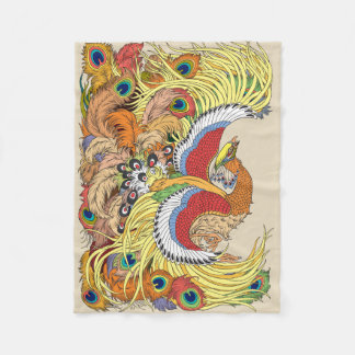 chinese phoenix fleece blanket