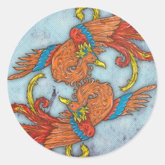 Chinese Phoenix Round Sticker