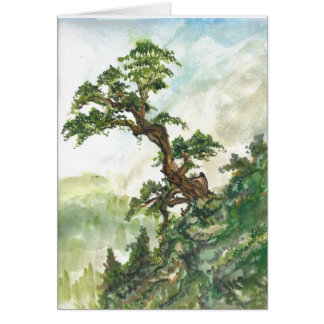 Chinese Pine Tree Landscape Blank Card