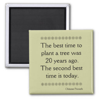 Chinese Proverb on Time and second chances Square Magnet