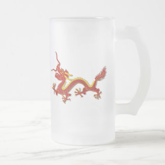 Chinese Red And Gold Year Of The Dragon Glass 16 Oz Frosted Glass Beer Mug