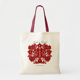 Chinese red double happiness wedding bag