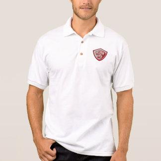 Chinese Red Dragon Head Shield Polo Shirt