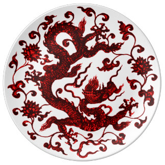 Chinese Red Dragon Plate Porcelain Plates