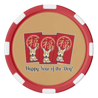 Chinese Red Envelope Lucky Corgi Year of the Dog Poker Chips