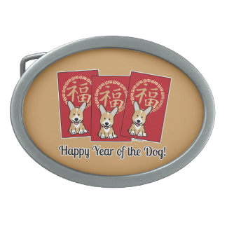 Chinese Red Lucky Money Year of the Dog Envelope Oval Belt Buckle