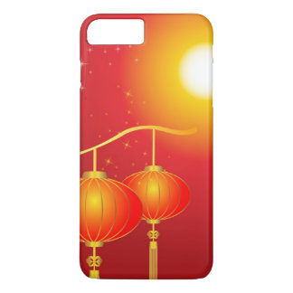 Chinese red paper lanterns with full moon iPhone 7 plus case