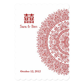 Chinese Red Porcelain Double Happiness Wedding Card