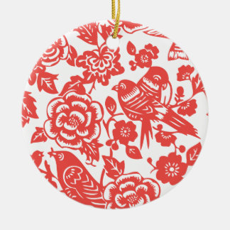 Chinese Red Porcelain Pattern Ceramic Ornament