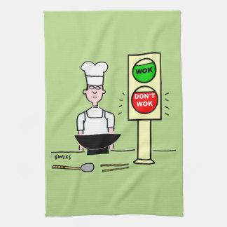 Chinese Restaurant Chef Stir Fry Wok Cartoon Kitchen Towel