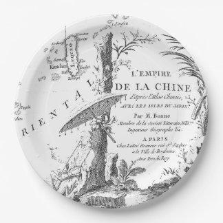 Chinese Scholar, Monk, Bird, Forest, Parasol 1770 Paper Plate