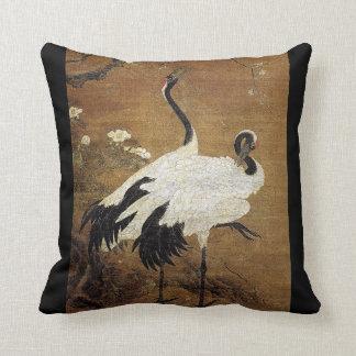 Chinese Scroll Art Crane Birds Flowers Pillow