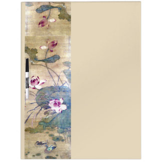 Chinese Scroll Art Lotus Flowers Dry Erase Board