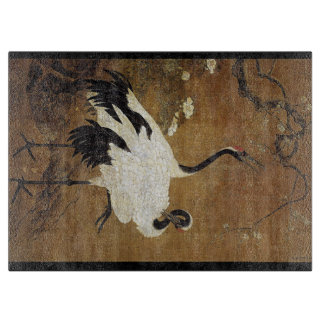 Chinese Scroll Crane Bird Flowers Cutting Board