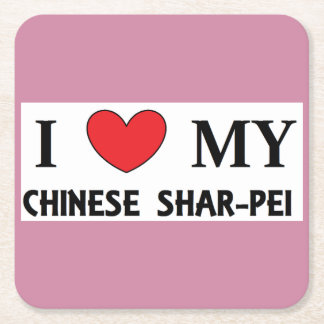 chinese shar love square paper coaster